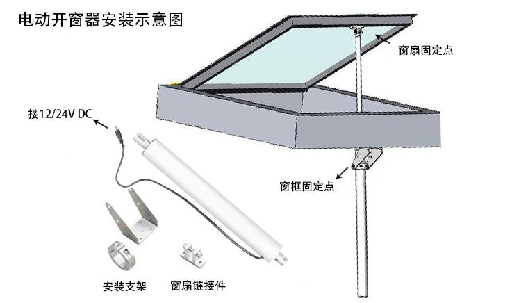 电动开窗器安装示意图